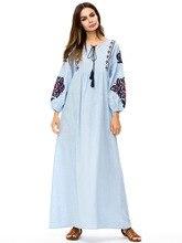 Sky Blue Women Flowers Embroidery Maxi Dresses Lantern sleeve Loose Elegant Long Dresses Ladies Plus Size Pleated Summer Dress sky blue half sleeve maxi dress