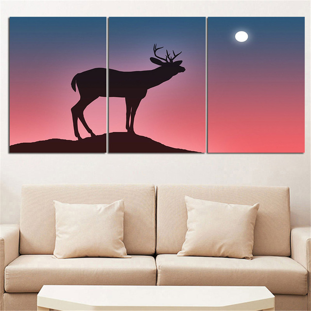 Mordern Animal Oil Painting Deer silhouette Wall Art Posters and ...