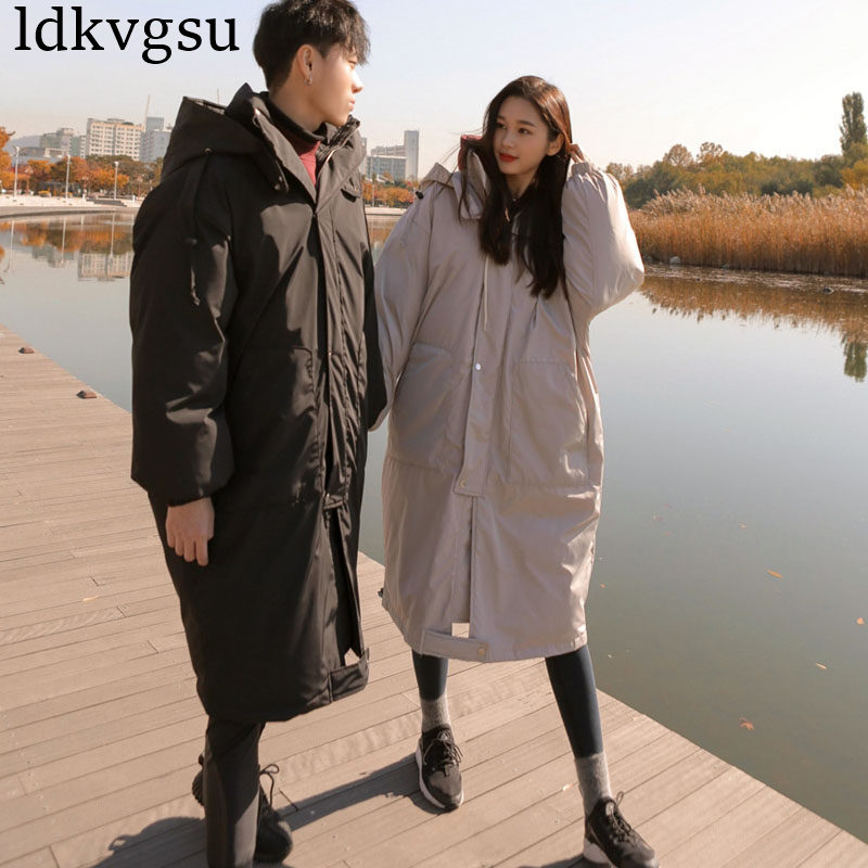 2019 Casual Black Women Winter   Parka   Long Cotton Padded Coat Loose Large Size Thicken   Parkas   Outerwear Female Jackets A1624