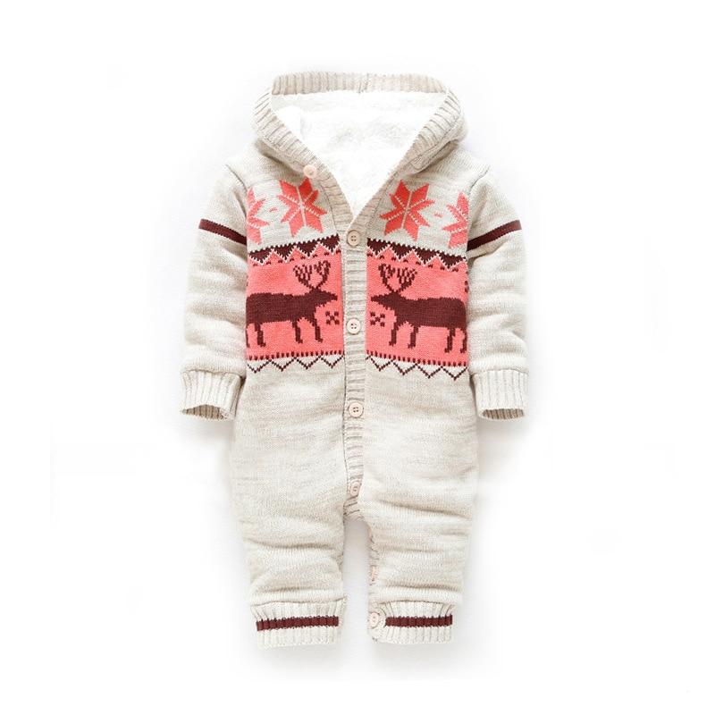 Vroča prodaja Baby Romper New Arrive Winter Winter Unisex božični jelen bombaž odebeljena topla oblačila Bebe XL109