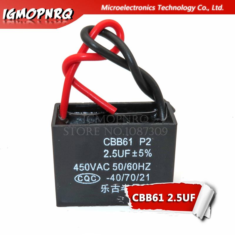 5pcs CBB61 2.5uf Starting Capacitance AC Fan Capacitor Igmopnrq 450V CBB Motor Run Capacitor