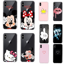 Desenho animado Mickey Minnie Mouse Caso de Telefone Silicone Macio Para A Apple iPhone 5 6 6 6 s Plus 5S Se 8 X Xs Max XR para iPhone Casos de 7 Coque(China)