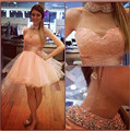 Exquisite High Neck Crystal Beaded A-line Mini Cocktail Pink Party Dresses 8 Grade Homecoming Party Gowns Custom