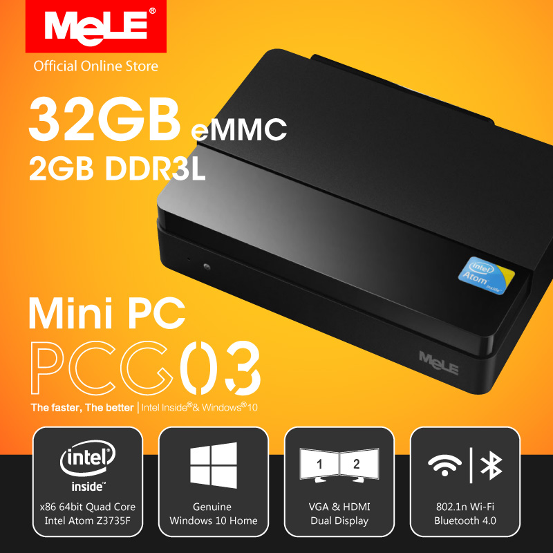 Sin ventilador Intel Quad Core Mini PC con VGA MeLE PCG03 Ultra HD 4 K HDMI 1.4