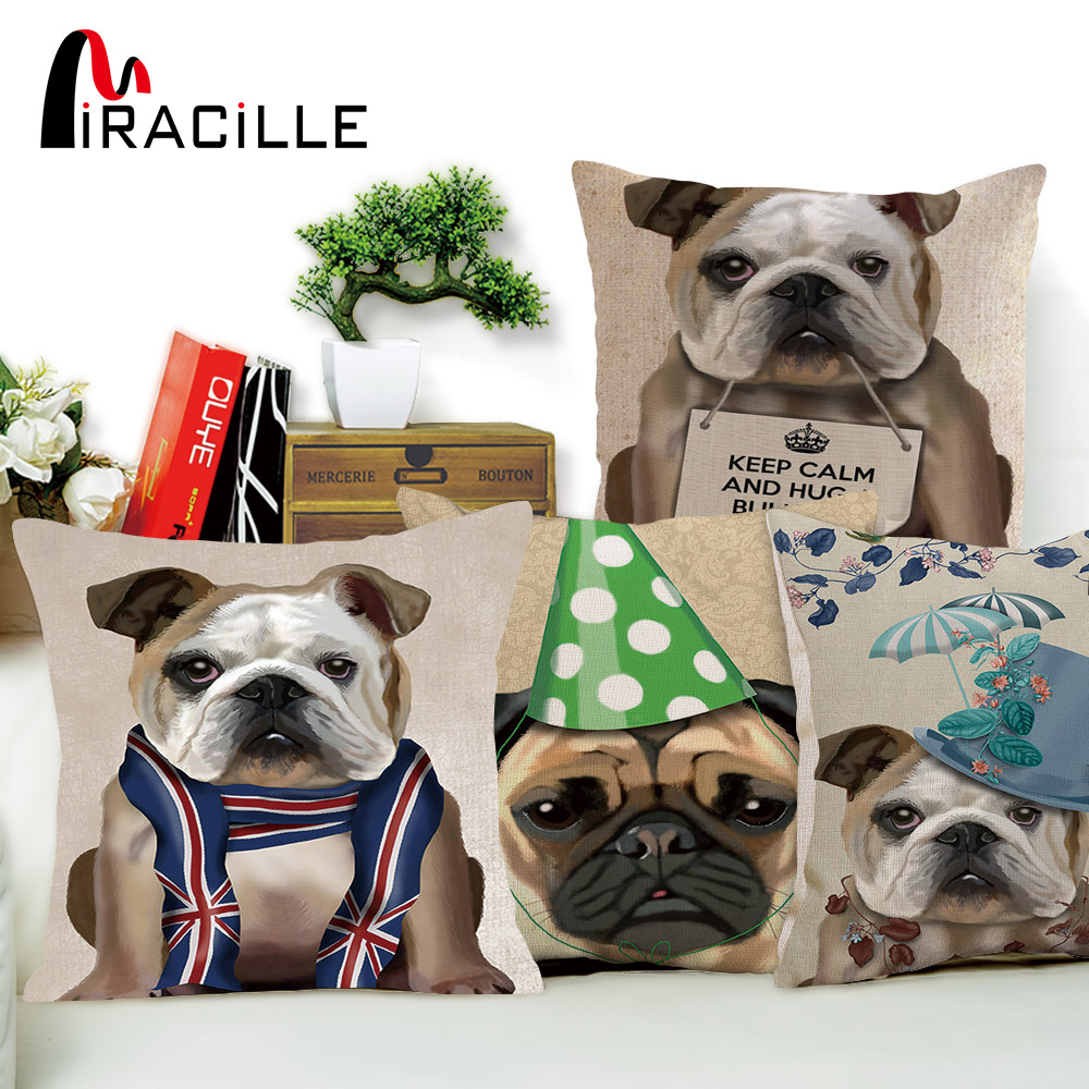 Miracille Funny Pet Dog Printed Throw Pillow Cute Cushion Cover for Sofa Bed Seat Home Christmas Decor Pillowcase