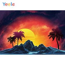 Yeele Seascape Sunset Coconut Trees Mount Painting Photography Backdrops Personalized Photographic Backgrounds For Photo Studio