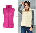 New 2015 autumn and winter Brand women vest plus size 3XL down vest white duck down outwear light weight soft warm waistcoat