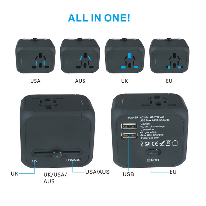 Universal Adapter International Travel US/AU/UK/EU Electric Plug Dual USB Charger Power Sockets Converter GDeals