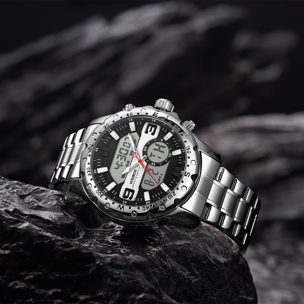 WEIDE Top Luxury Brand Quartz Watches Men LED Digital Clock Man Sports Military Stainless Steel Wrist Watch Relogio masculino 11