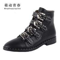 2016 Fashion Motorcycle Boots Biker Shoes Women Suede Pointed Snow Boots Shoe Famous Designer Woman Flats