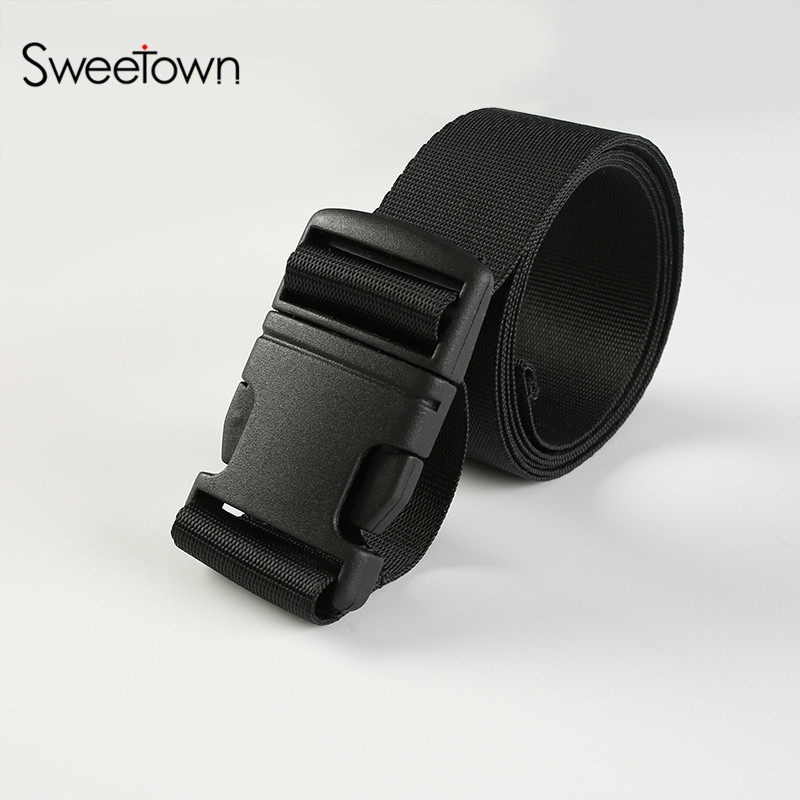 Sweetown Military Belt Insert Buckle Waistband Men & Women High Quality Canvas Belts Fashion All-Match Black Straps Ceintures
