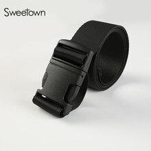 Sweetown Military Belt Insert Buckle Waistband Men & Women High Quality Canvas Belts Fashion All-Match Black Straps Ceintures