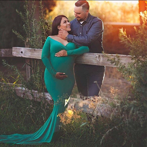 Image 2 - 2019 Cotton Maternity Photography Props Maternity Gown Dress Off Shoulder Sexy Women Pregnancy Maxi Dresses For Photo Shooting