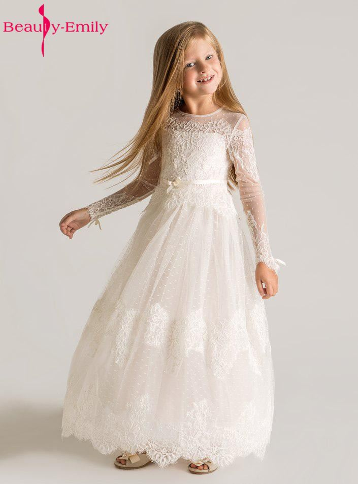 Brauty Emily Princess Lace Flower Girls Dresses 2019 Long Sleeves Custom Made Lace Designer First Communion