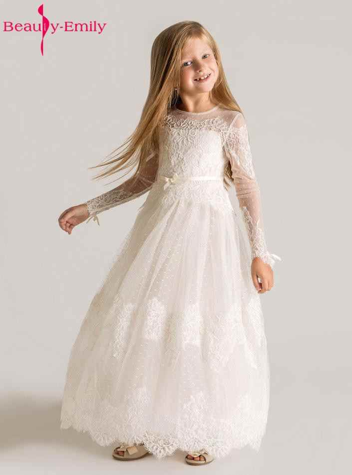 c7f23c34cd9 Detail Feedback Questions about Brauty Emily Princess Lace Flower Girls  Dresses 2017 Long Sleeves Custom Made Lace Designer First Communion Dress  Appliques ...