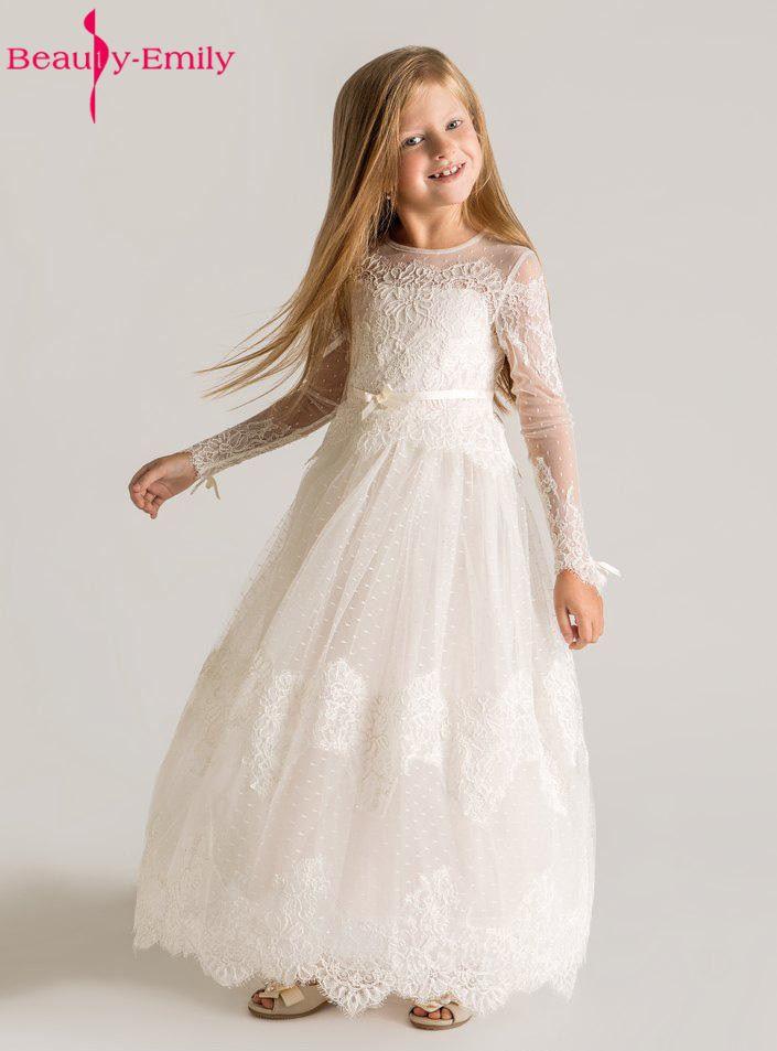 6bee7cbcb48 Brauty-Emily принцесса кружева цветок девочки платья 2019 с длинным рукавом  Кружевное на заказ дизайнерское