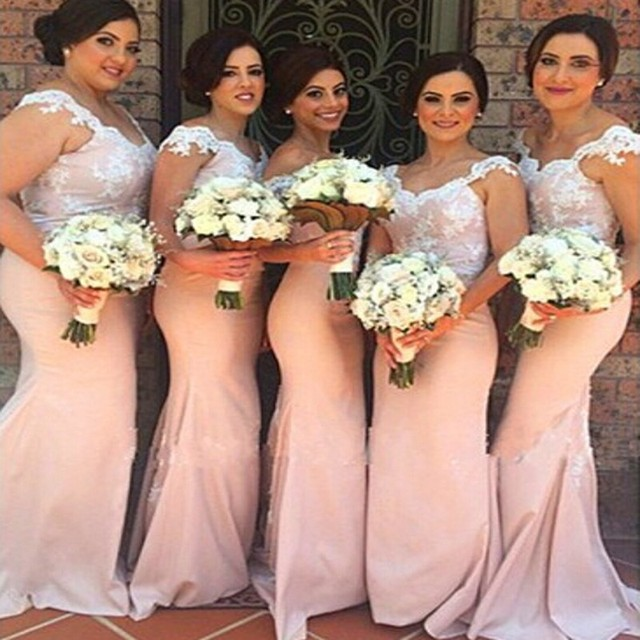 Western Style Long Lace Bridesmaid Mermaid Dresses For Wedding Guest ...