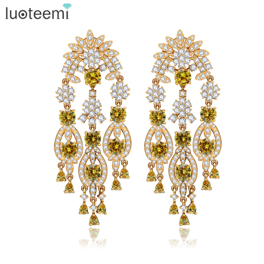 все цены на LUOTEEMI New Europe Style Statement Clear and Yellow CZ Crystal Big Long Tassel Drop Earrings for Women Jewelry Accessories