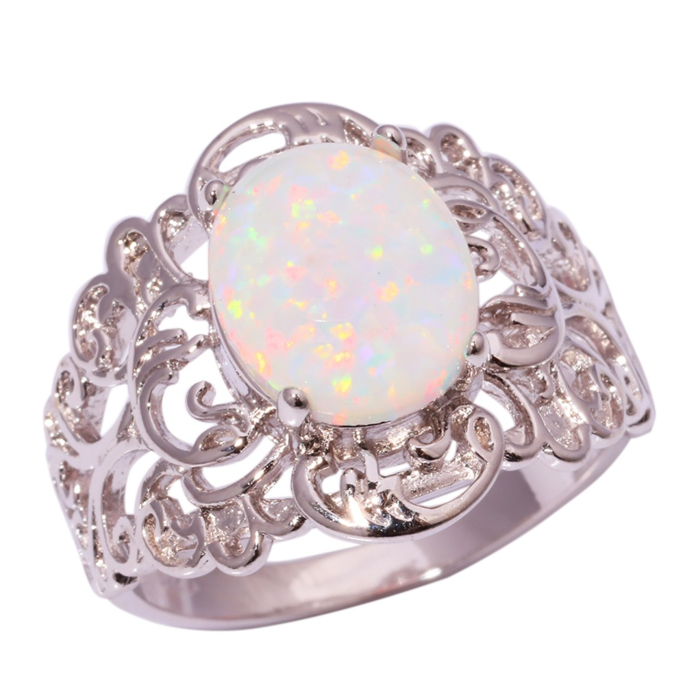 Silver White Fire Opal Wholesale Retail for Women Jewelry Wedding Ring Size 5 12 OJ6729