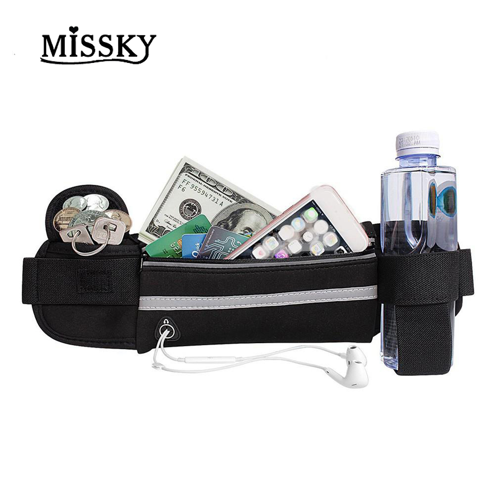 MISSKY Running Waist Packs Men Women Unisex Bags Multifunction Sports Outdoor Activities Waterproof Anti-theft Zipper Bag San0