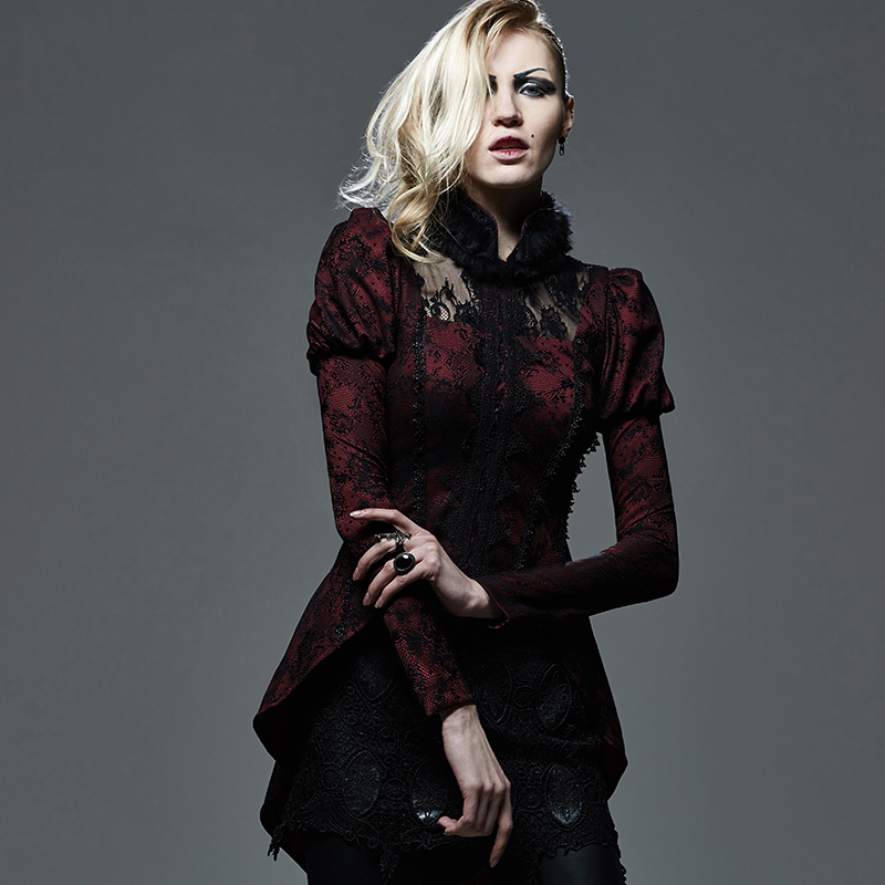 Gothic Sexy Lace Short Mink Swallow Tail Coat with Furry Collar Steampunk Red-Black Long Sleeve Women Jackets