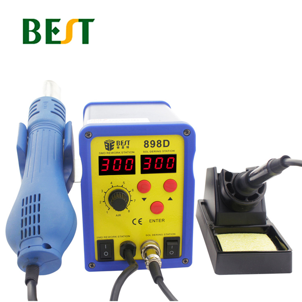 BST-898D Lead-Free Spiral Heat Gun 2 In 1 Can Adjusted Dual Display Desoldering Station Soldering Iron For PCB SMT SMD ReworkBST-898D Lead-Free Spiral Heat Gun 2 In 1 Can Adjusted Dual Display Desoldering Station Soldering Iron For PCB SMT SMD Rework
