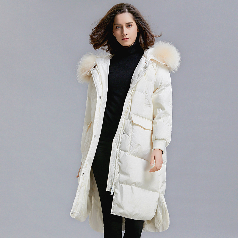 Large Real Raccoon Fur Collar 2018 Hooded Duck   Down   Parkas Women Long Female Jackets Thick Warm   Down     Coats   Winter Jacket Women
