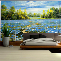 Custom Wallpaper Wild Blooming Cornflower Wallpaper Sale High Quality Wallpapers Girls Bedroom Decor Bedroom Wall Art