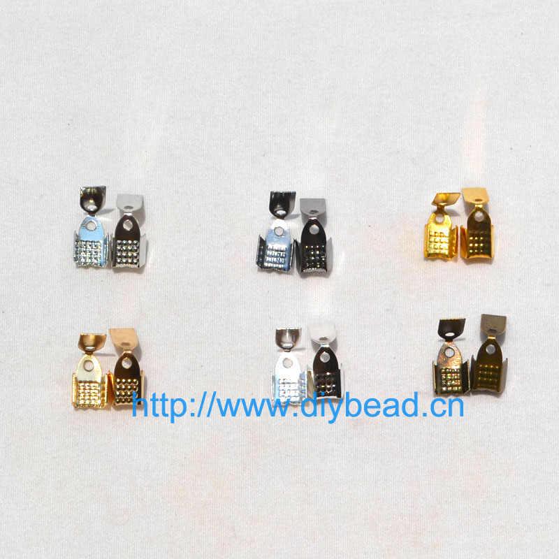 100 pzs/lote 5*9mm oro plata extremo del cable de metal Crimps Bead Caps Crimp sujetador broches DIY joyas collar Accesorios