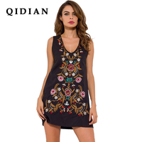 QI DIAN 2017 Spring Loose Black Ethnic Embroidery Dress Women V Neck Sleeveless Casual Embroidered Bohemia