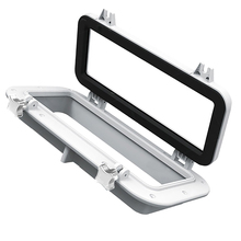 40x20cm Marine/Boat Portlight Access Hatch Window Rectangular Opening Porthole Marine Hardware Vehicle Parts White/ Black