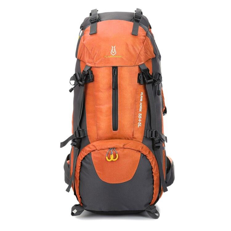 Men mountaineering waterproof outdoor sports nylon bag male Wild camping backpack women Rainproof 60L mountaineering bag
