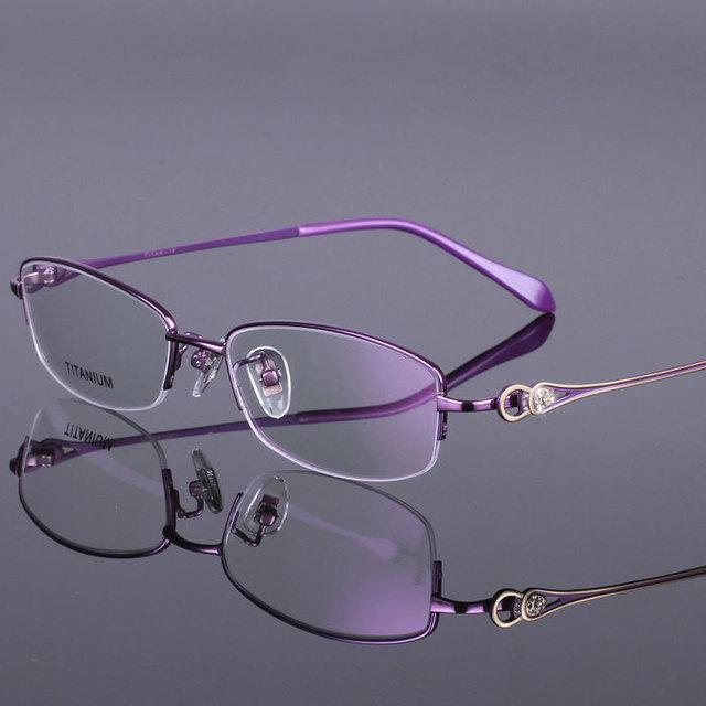 2015 pure Titanium Moda highgrade Gafas Medio Marco Marcos de Anteojos Ultraligeros Mujeres gafas de miopía envío libre