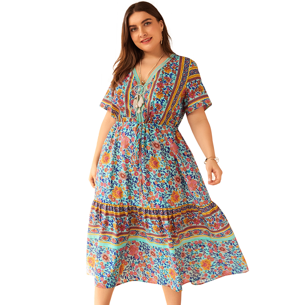 2019 new summer women 39 s fashion V neck print sexy dress bohemian plus size ruffled casual loose women dress Vestidos in Dresses from Women 39 s Clothing