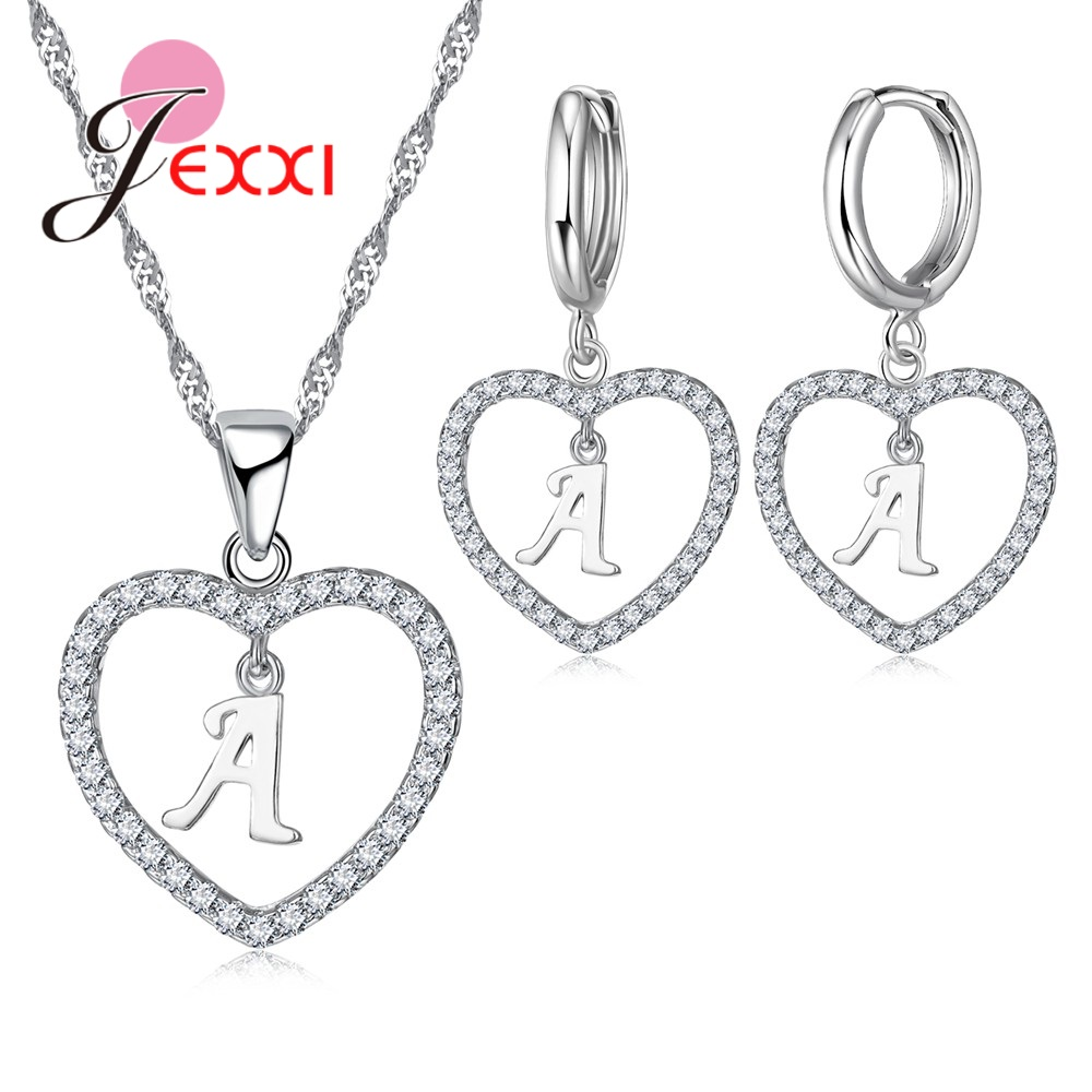 JEXXI Personality Sweet Letter Party Travel Anniversary Lovely Girlfriend Birthday Gift 925 Sterling Silver Cubic Zirconia