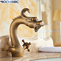 BOCHSBC Kitchen Faucet 360 Swivel Retro Mixer Tap Copper Hot and Cold Basin Tap Fashion Antique Robinet salle de bain