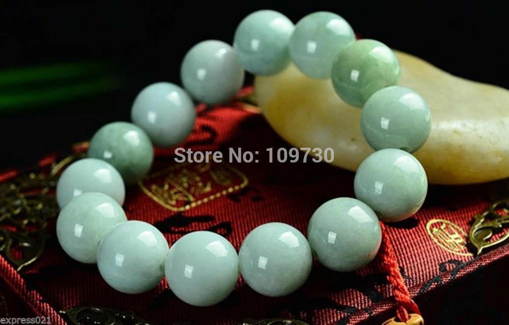 Shiipping 00969 สีเขียวจีน 100% เกรด A ธรรมชาติ/Jadeite สร้อยข้อมือลูกปัด/ปรับ