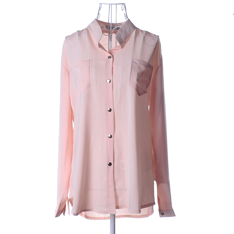 blusa Womens Chiffon Blouse Ladies Candy Color Elegant Stand Neck Blouses  Long Sleeve Chiffon Shirt Women Office Shirt Plus Size-in Blouses   Shirts  from ... f8ccc3d49e00