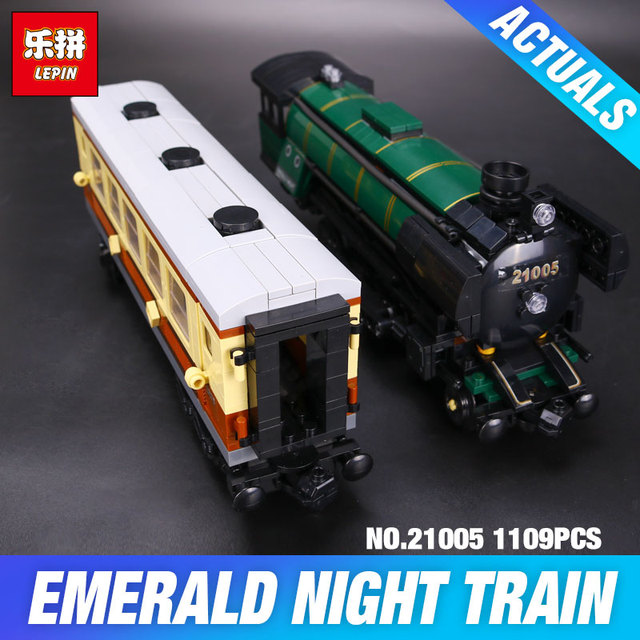 LEPIN 21005 series the Emerald Night model building blocks set Classic compatible Steam trains Toys 10194 Educational DY Gift