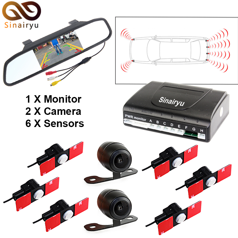 Car Parking Sensors 13mm Flat Sensors Reverse Backup Radar 800*480 Car Rear View Monitor 2 Video Input Rear / Front Camera for ford escape maverick mariner car parking sensors rear view back up camera 2 in 1 visual alarm parking system