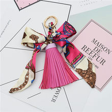 Fashion Hot Sale Scarves Key holder Bowknot Exquisite Decoration PU Leather Tassels Keychains Women Bag Charm Pendant EH810(China)