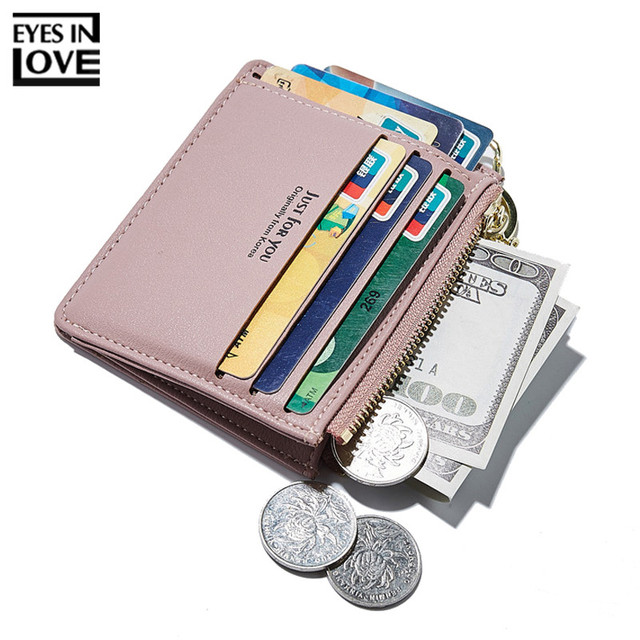 2018 New Super Thin Small Credit Card Wallet Women s Leather Key Chain ID Card  Holder Slim 35eef3ccb0