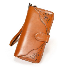 Elegant Women Wallet Fashion Lady Clutch Split Leather For Large Long Capacity Phone Pouch Wrist Purse