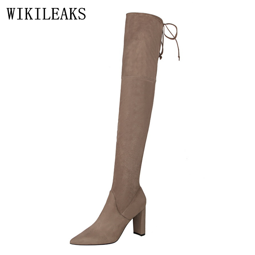 fashion knee high boots women designer shoes woman winter boots over the knee boots botines mujer luxury brand bigtree shoes