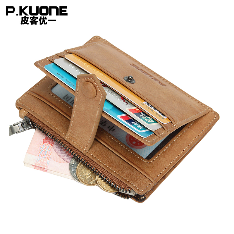P.KUONE Genuine Leather Credit Card Holder Wallet Passport Cover Travel Coin Purse Business Men Small Money Bag Key Housekeeper 3d skull floral pu leather passport cover wallet travel function credit card package id holder storage money organizer clutch