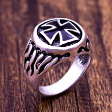 2018 Steel Titanium Red Armor Shield Knight Templar Crusade Cross Ring Medieval Signet Retro Vintage Size 8 9 10 11(China)