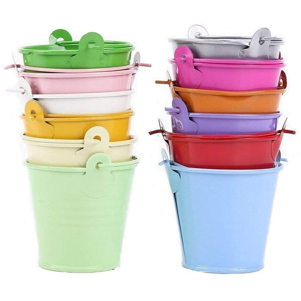 SDFC-12pcs Planter For Flowers Mini Buckets Metal Table Decoration (Random Color)