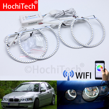 Wifi Wireless RGB Multi-Color LED Angel Eye Halo Rings Day Light DRL For BMW E46 3 Series Compact 2001 2002 2003 2004 2005