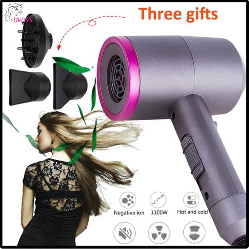 Negative Ionic Hair Dryer 3 in 1 Multifunctional Styling Tool With 3 Nozzles Hair Blow Dryer Hot Air Styler For Straight Curly|Curling Irons| |  -