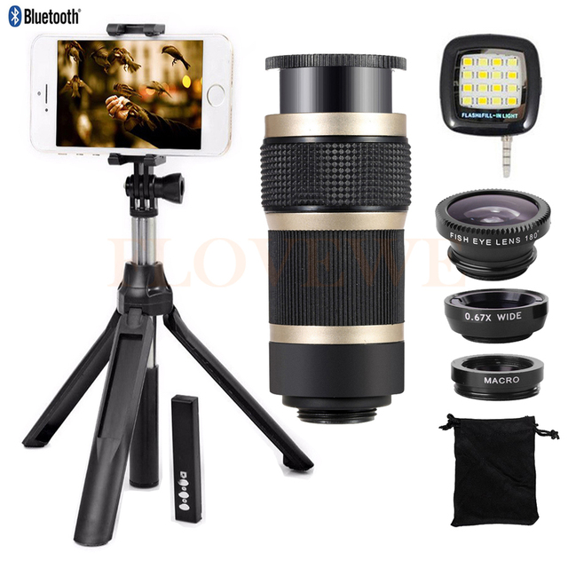 8X de Zoom Teleobjetivo Lentes Telescopio Bluetooth Obturador Gran Angular ojo de Pez Macro lente para iphone 7 6 6 s xiaomi 5S lentes de teléfono celular